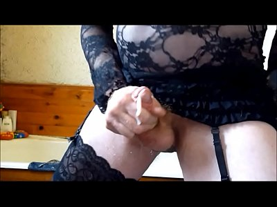 Stockings Cock Cum video: Crossdresser Slo-mo Cumshots