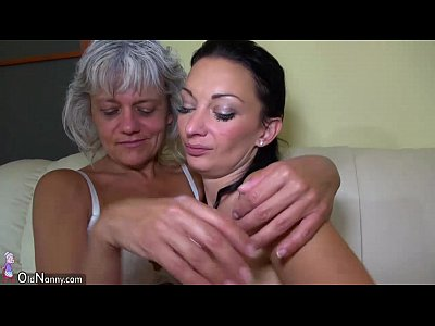 Tits Lesbian Mature video: Grandma likes big long dildo on the couch OLDNANNY