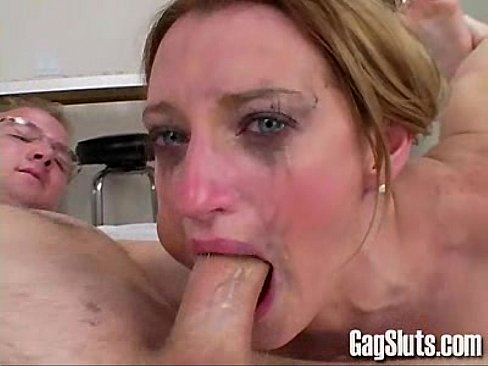 2 sluts gag on cock for a nice facial 2