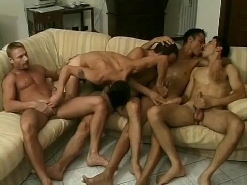 Luscious young studs in perverted all holes wrecking orgy fest