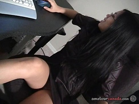 Asian office girl fingers wet pussy upskirt and stripteases