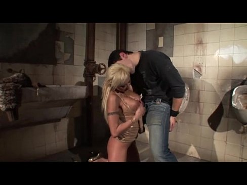 Blonde slut fucked in the public toilet for men!