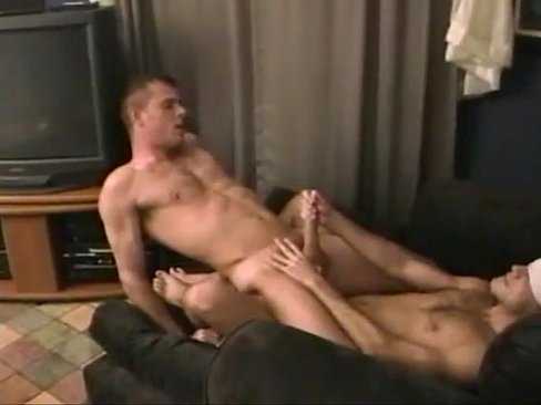Gay lovers in a blindfold barebacking scene