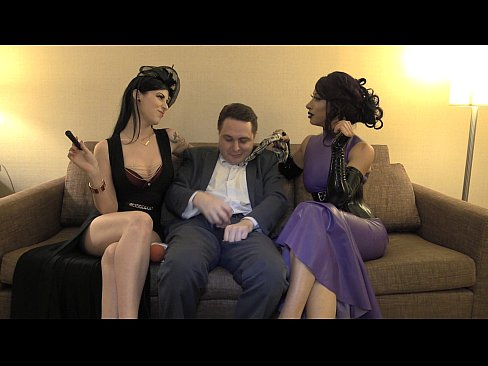 Mistress Tangent and Mistress Morgan Chase attack the balls of Andrea Diprè