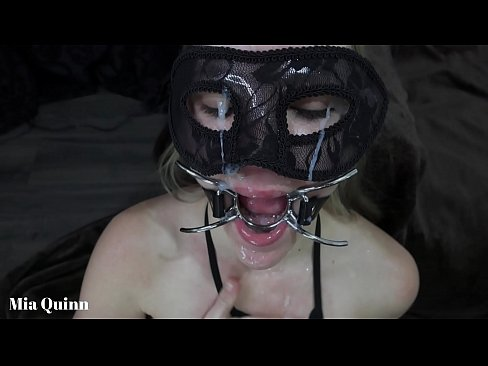 Face fuck with ring gag open mouth hands tied cum face and pissing - Mya Quinn