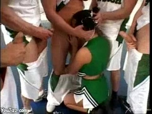 Cheerleader fucked by basketball team