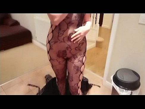 Sexy exhibitionist girl next door in black fishnet body stocking wants cream but gets fucked and oral creampie instead sloppy blowjob POV Indian