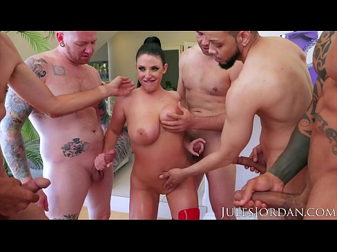 Jules Jordan - Swarmed By 13 Guys Angela White Does Her Biggest Blowbang Ever