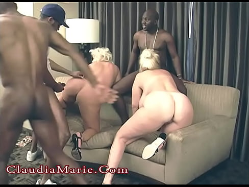 Claudia Marie And Kayla Kleevage Interracial Group DP 34 min HD