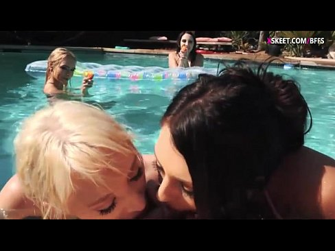 Girls give a wet blowjob and fucked hard by the poolside