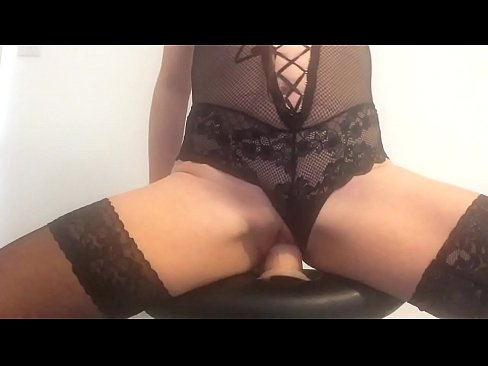 Riding my dildo on a stool my pussy juices flowing