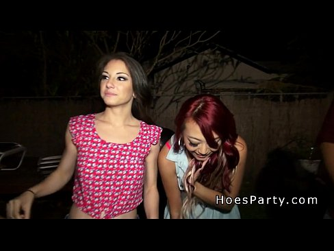 Outdoor party with two amateur hotties