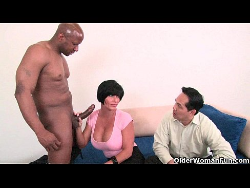 Husband watches wife first black cock