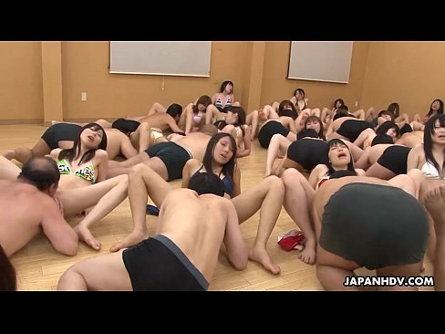 50 people orgy in a huge hall that's so loud