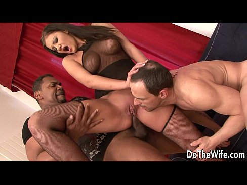 Brunette interracial cuckold anal