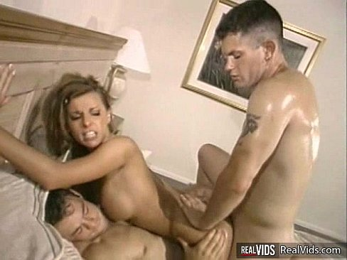 Busty hussy double penetrated on sofa