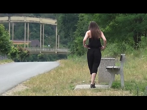 Piss Desperation - Gorgeous babe pees on the ground in public while out jogging
