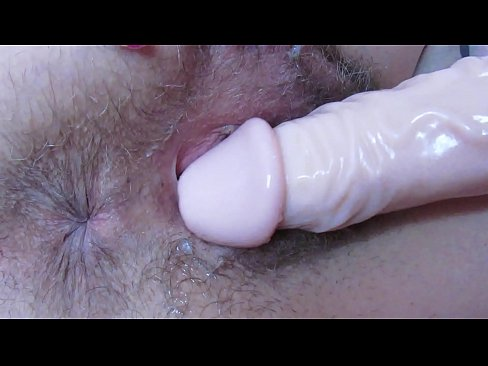 Extreme close up wet pussy fucking with huge dildo . Big clit , big labia ,hairy cunt gaping