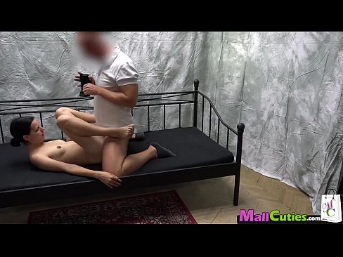 Brunette with small tits is fucking