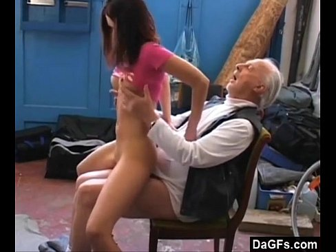 Old pervert fuck young bitch in the basement 6