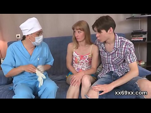 Doctor assists with hymen examination and deflowering of virgin cutie