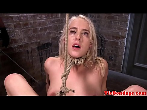 Tied up bondage babe pussy hooked and toyed