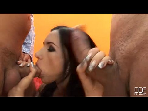 Petite blue eyed Russian beauty gets Double Penetrated