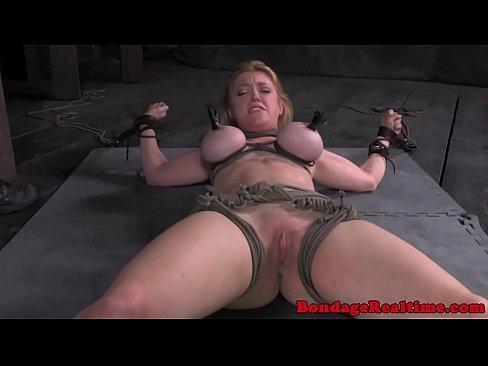 Blonde sub tied up and toyed