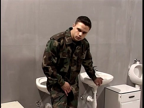 Masculine Rob Nelson gets fucked in the barracks toilet