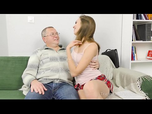 Tricky Old Teacher - Student takes teacher's cock from mouth to ass