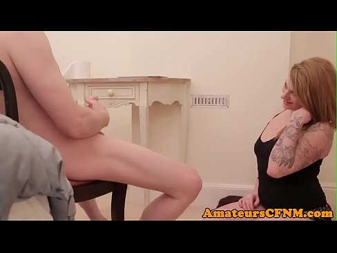 Goth milf catches naked guy masturbating