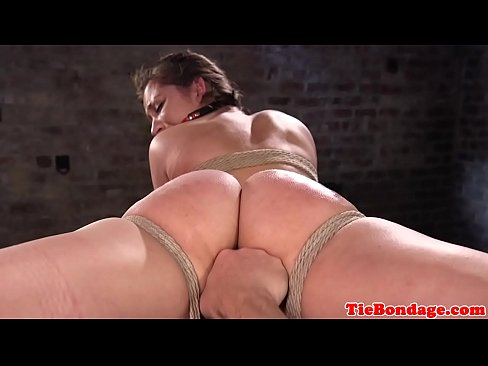 Busty bdsm sub tied up and pussy fingered