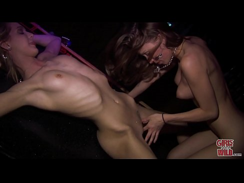 GIRLS GONE WILD - Young Skinny Lesbian Gets Her Pussy Eaten On A Bar