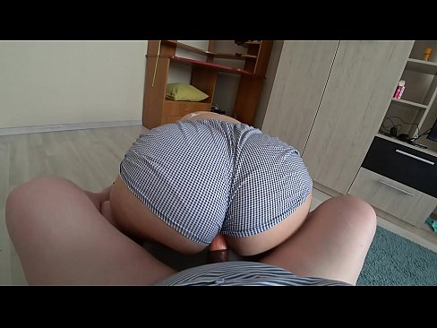 Lesbian with a strapon fucked girlfriend through shorts, doggystyle shake a fat ass. POV.