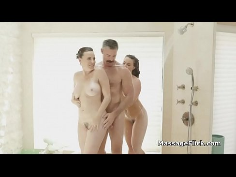 Masseuses milking cock in and after shower