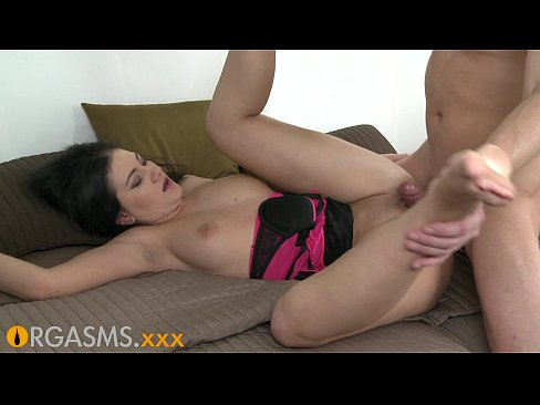 ORGASMS Intense black haired babe enjoys multiple orgasms and a creampie