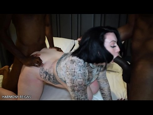 harmony reigns attempts double vaginal penetration for the very 1st time with 2 big black cocks