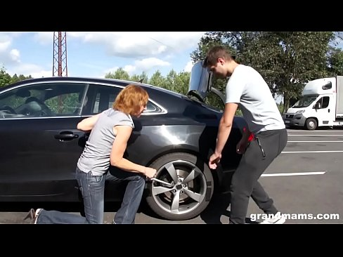Horny old bitch Amanda stalled car premise fuck on GrandMams.com