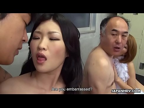 Two Japanese wives get fucked and facialized side by side