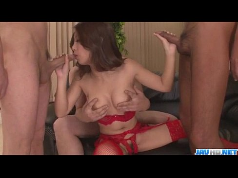 Group sex scenes along Satomi Suzuki babe in red lingerie