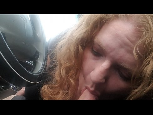 CurlyyRed bbw redhead gives roadhead on country roads