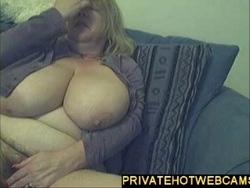 Big blond milf with huge tits masturbating on webcam
