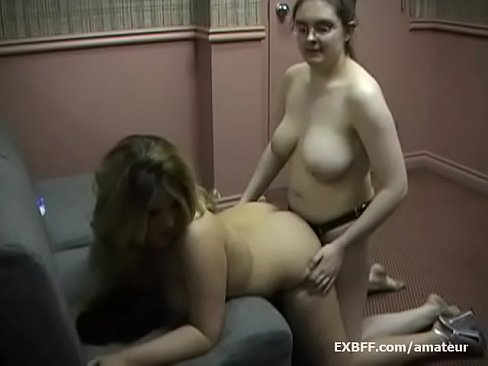 BBW lesbian femdom screws girlfriend with strapon