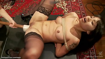 Asian toying petite newbie at party