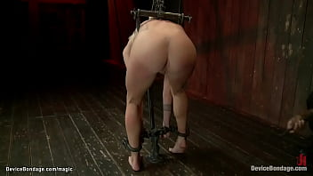 Hogtied blond pussy fucked with dildo