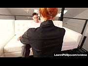 thumb Hot Redhead Lau ren Phillips Blows Cock In Sex ows Cock In Sexy Red Lipstick