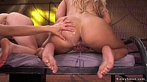 Milf dom injects cum in lesbians asses
