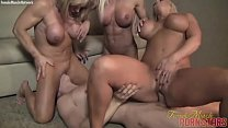 Three Muscle Women Fuck Some Wimp video