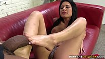 Eva Angelina jerks off BBC with her sexy feet