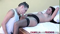 Tgirl in stockings gets dick sucked